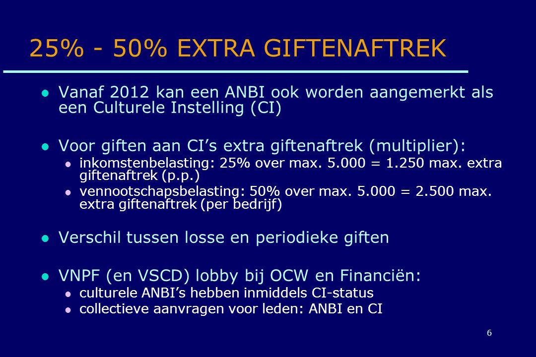 6 25% - 50% EXTRA GIFTENAFTREK Vanaf 2012 kan een ANBI ook worden aangemerkt als een Culturele Instelling (CI) Voor giften aan CI's extra giftenaftrek (multiplier): inkomstenbelasting: 25% over max.