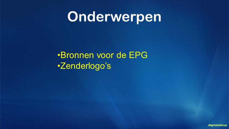 Bronnen voor de EPG Zenderlogo's Onderwerpen
