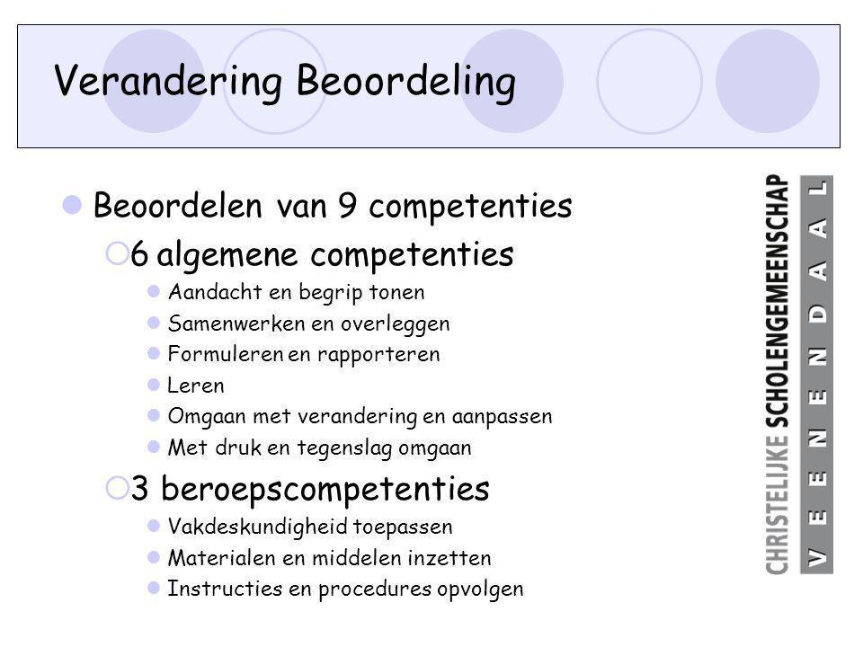 Verandering Beoordeling Beoordelen van 9 competenties  6 algemene competenties Aandacht en begrip tonen Samenwerken en overleggen Formuleren en rappo