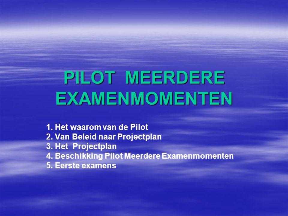 PILOT MEERDERE EXAMENMOMENTEN 1.Het waarom van de Pilot 2.