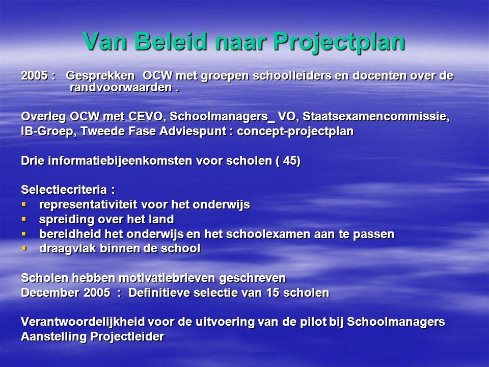 Van Beleid naar Projectplan 2005 : Gesprekken OCW met groepen schoolleiders en docenten over de randvoorwaarden.