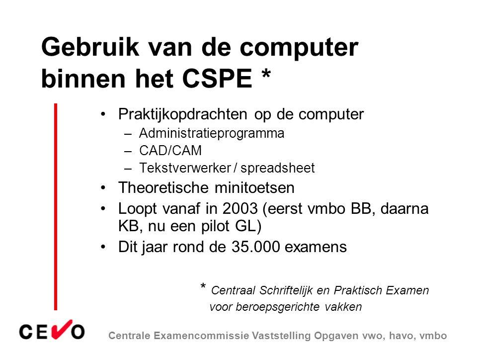 Centrale Examencommissie Vaststelling Opgaven vwo, havo, vmbo Gebruik van de computer binnen het CSPE * Praktijkopdrachten op de computer –Administrat