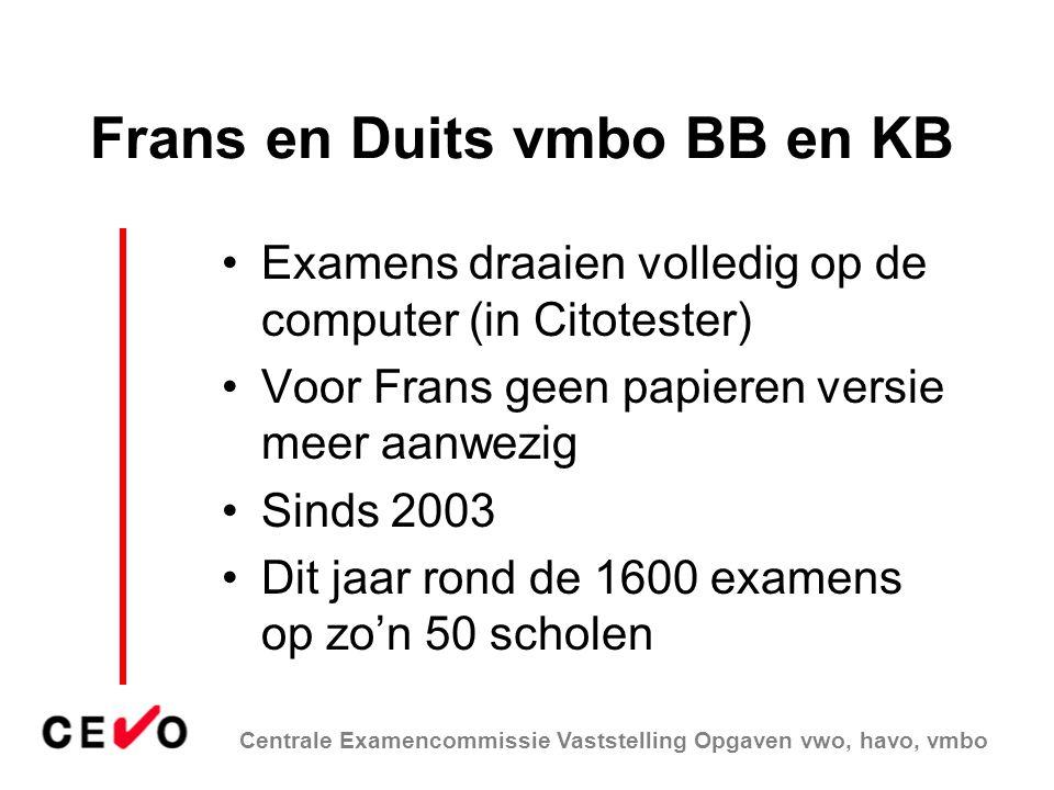Centrale Examencommissie Vaststelling Opgaven vwo, havo, vmbo Frans en Duits vmbo BB en KB Examens draaien volledig op de computer (in Citotester) Voo