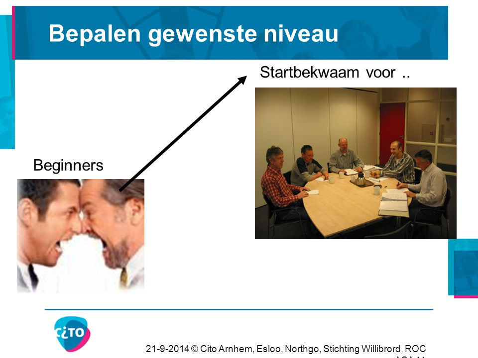 21-9-2014 © Cito Arnhem, Esloo, Northgo, Stichting Willibrord, ROC ASA 11 Bepalen gewenste niveau Beginners Startbekwaam voor..