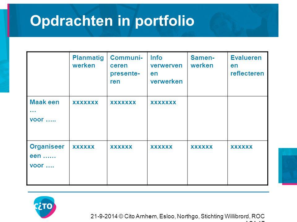 21-9-2014 © Cito Arnhem, Esloo, Northgo, Stichting Willibrord, ROC ASA 17 Opdrachten in portfolio Planmatig werken Communi- ceren presente- ren Info v