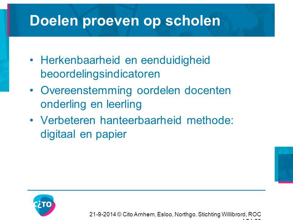 21-9-2014 © Cito Arnhem, Esloo, Northgo, Stichting Willibrord, ROC ASA 23 Doelen proeven op scholen Herkenbaarheid en eenduidigheid beoordelingsindica