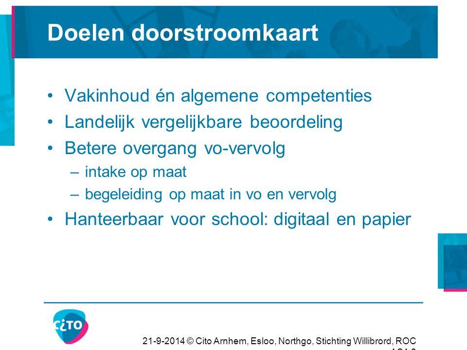 21-9-2014 © Cito Arnhem, Esloo, Northgo, Stichting Willibrord, ROC ASA 24 Aandachtspunten uit de pilot Hoe gaat mbo het gebruiken.