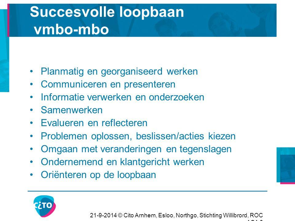 21-9-2014 © Cito Arnhem, Esloo, Northgo, Stichting Willibrord, ROC ASA 6 Succesvolle loopbaan vmbo-mbo Planmatig en georganiseerd werken Communiceren