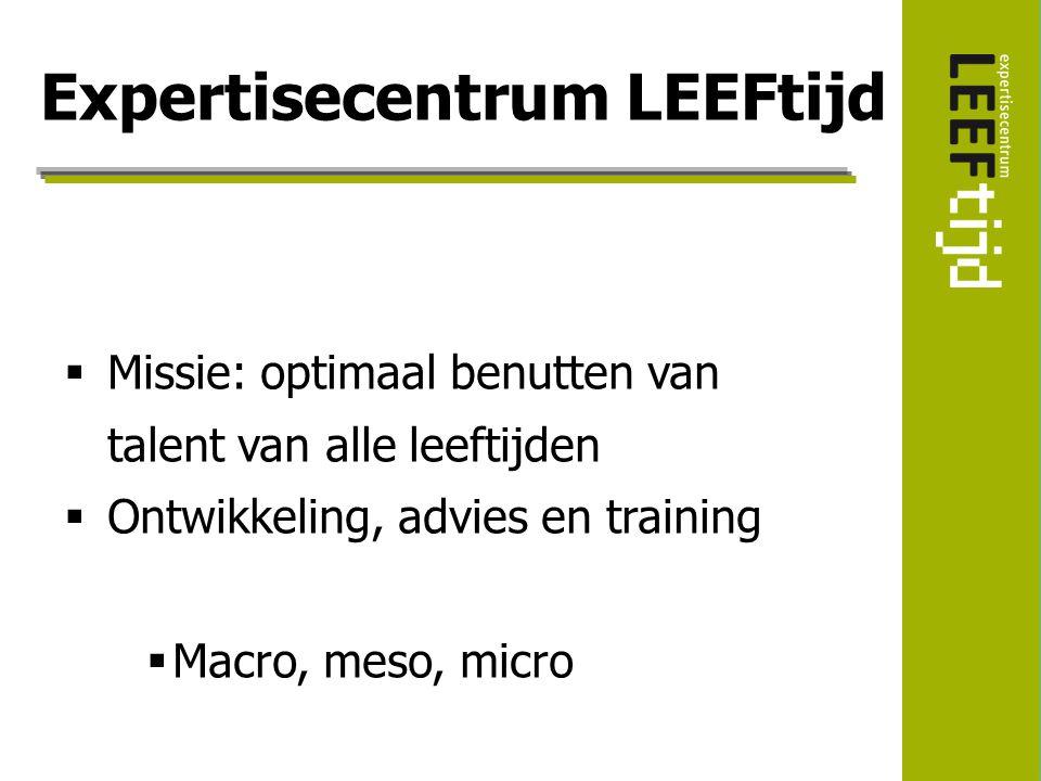  Missie: optimaal benutten van talent van alle leeftijden  Ontwikkeling, advies en training  Macro, meso, micro Expertisecentrum LEEFtijd