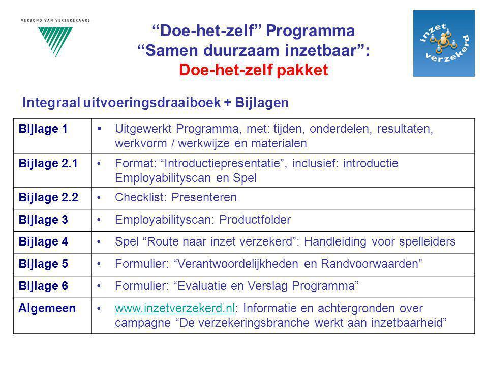 """Bijlage 1  Uitgewerkt Programma, met: tijden, onderdelen, resultaten, werkvorm / werkwijze en materialen Bijlage 2.1Format: """"Introductiepresentatie"""","""