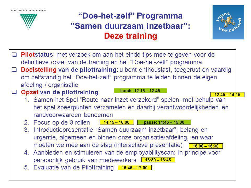 """ Pilotstatus: met verzoek om aan het einde tips mee te geven voor de definitieve opzet van de training en het """"Doe-het-zelf"""" programma  Doelstelling"""