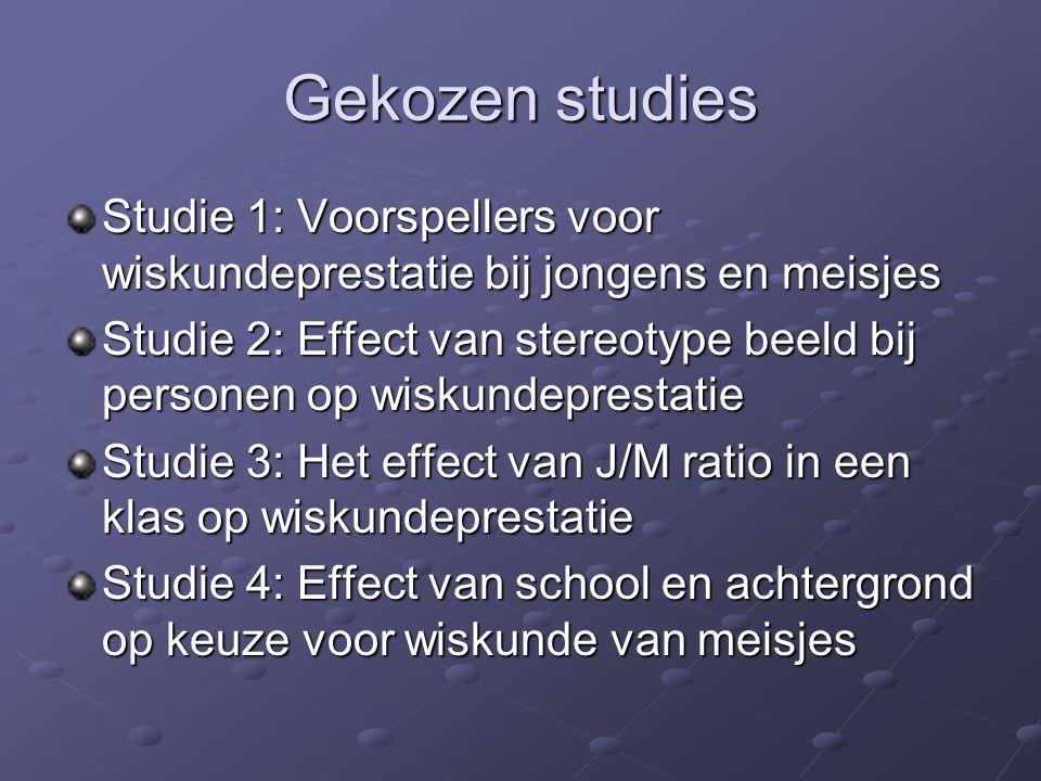 Gekozen studies Studie 1: Voorspellers voor wiskundeprestatie bij jongens en meisjes Studie 2: Effect van stereotype beeld bij personen op wiskundepre