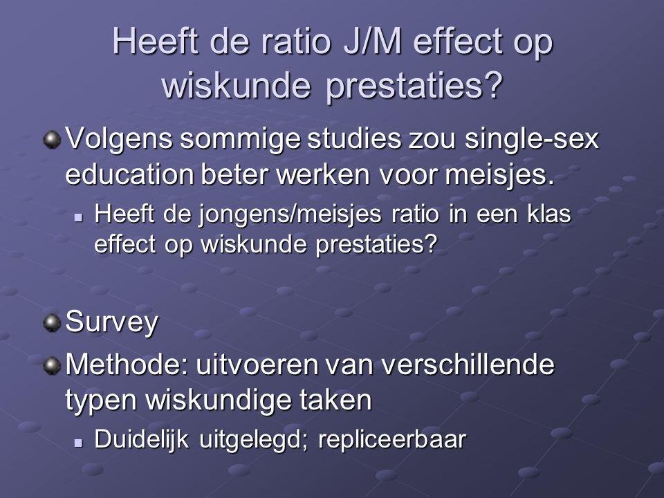Heeft de ratio J/M effect op wiskunde prestaties? Volgens sommige studies zou single-sex education beter werken voor meisjes. Heeft de jongens/meisjes