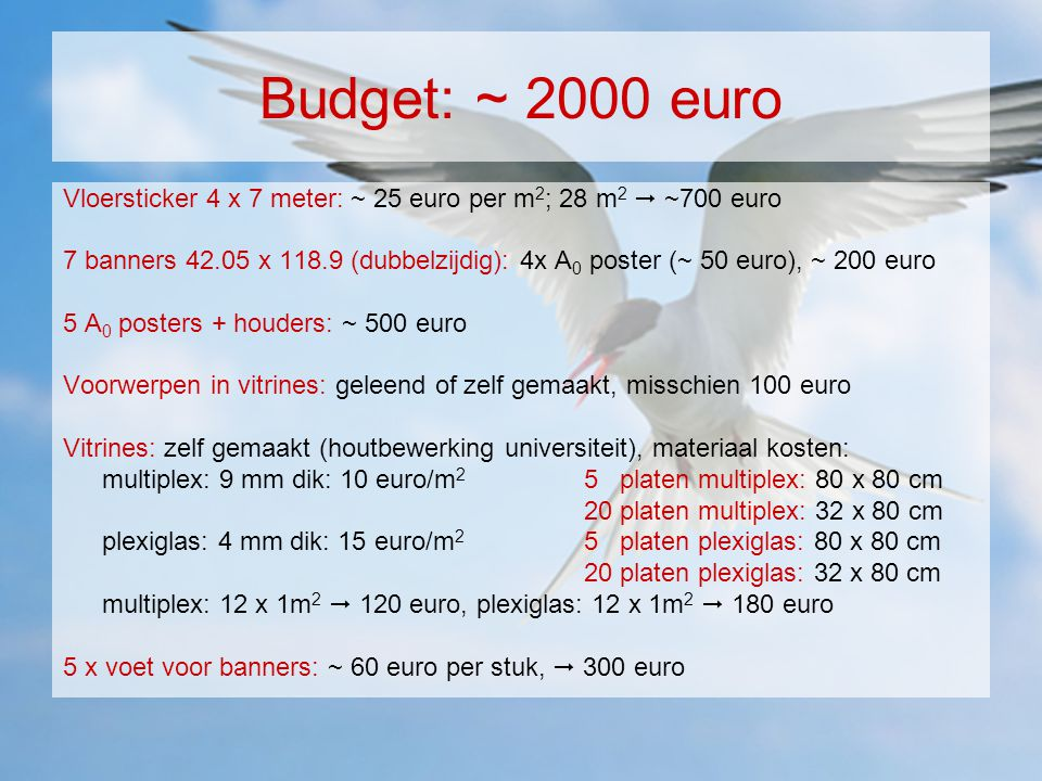 Budget: ~ 2000 euro Vloersticker 4 x 7 meter: ~ 25 euro per m 2 ; 28 m 2  ~700 euro 7 banners 42.05 x 118.9 (dubbelzijdig): 4x A 0 poster (~ 50 euro)
