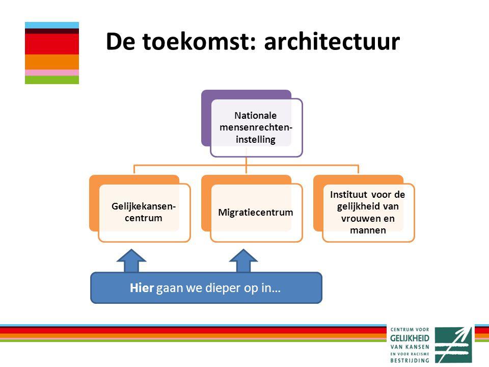 De toekomst: architectuur Hier gaan we dieper op in… Nationale mensenrechten- instelling Gelijkekansen- centrum Migratiecentrum Instituut voor de gelijkheid van vrouwen en mannen