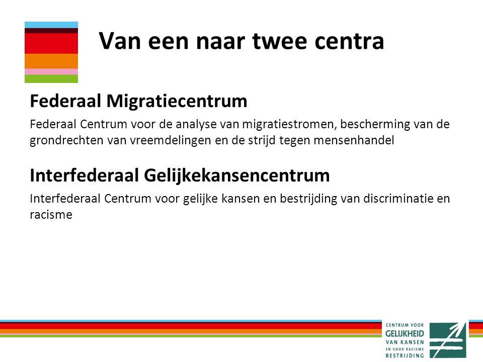 Van een naar twee centra Federaal Migratiecentrum Federaal Centrum voor de analyse van migratiestromen, bescherming van de grondrechten van vreemdelin