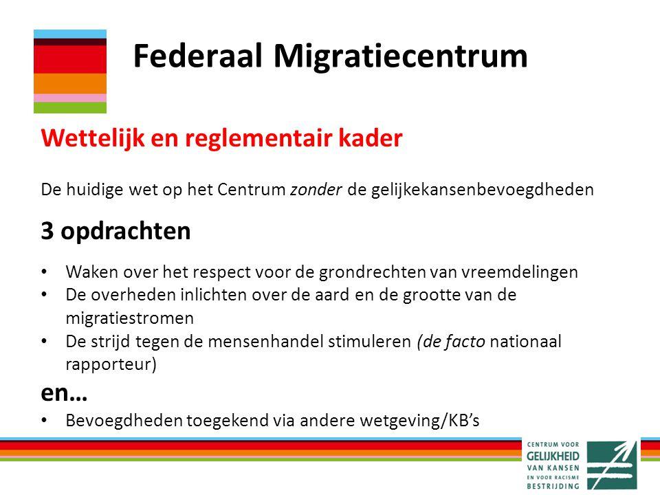 Federaal Migratiecentrum Wettelijk en reglementair kader De huidige wet op het Centrum zonder de gelijkekansenbevoegdheden 3 opdrachten Waken over het