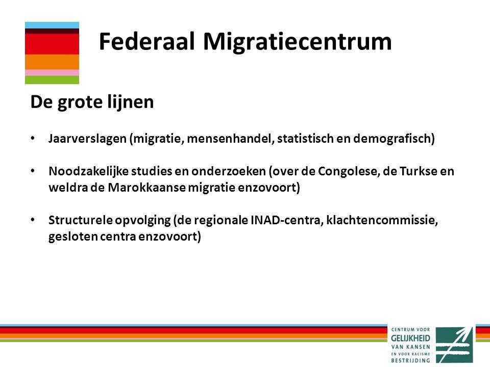 Federaal Migratiecentrum De grote lijnen Jaarverslagen (migratie, mensenhandel, statistisch en demografisch) Noodzakelijke studies en onderzoeken (ove