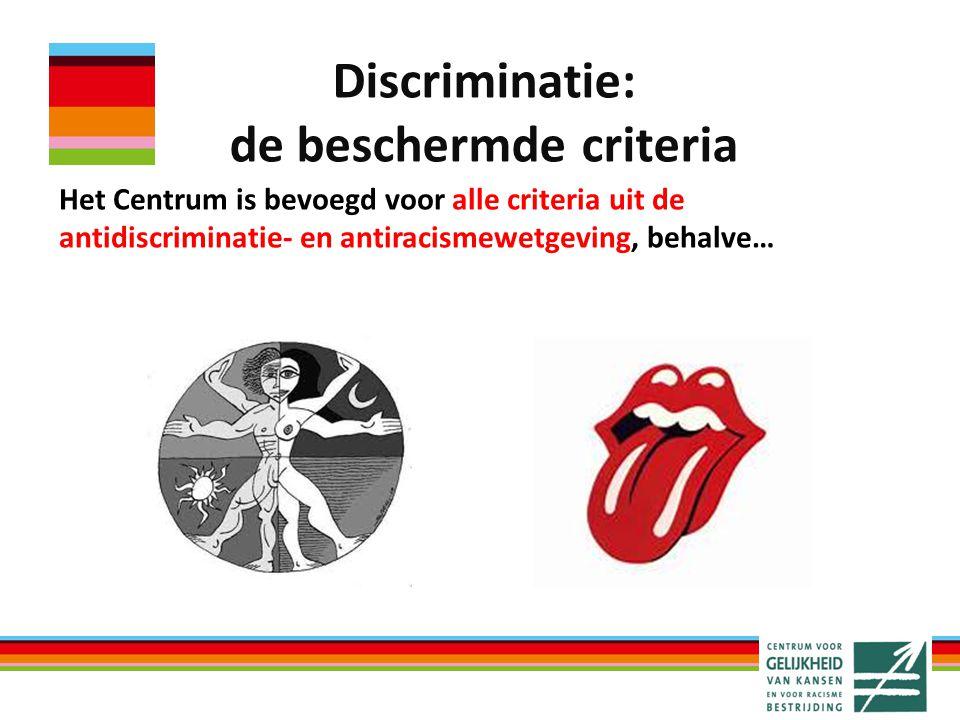Discriminatie: de beschermde criteria Het Centrum is bevoegd voor alle criteria uit de antidiscriminatie- en antiracismewetgeving, behalve…