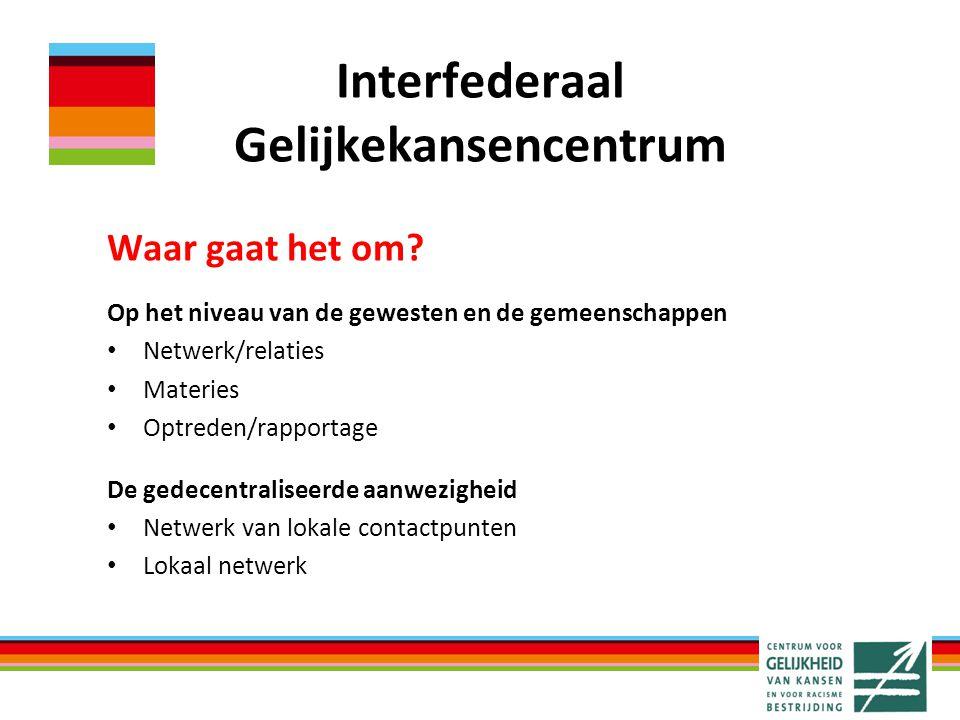 Interfederaal Gelijkekansencentrum Waar gaat het om? Op het niveau van de gewesten en de gemeenschappen Netwerk/relaties Materies Optreden/rapportage