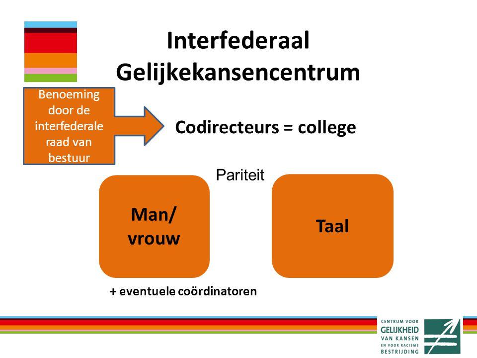Interfederaal Gelijkekansencentrum Codirecteurs = college Man/ vrouw Taal + eventuele coördinatoren Benoeming door de interfederale raad van bestuur Pariteit