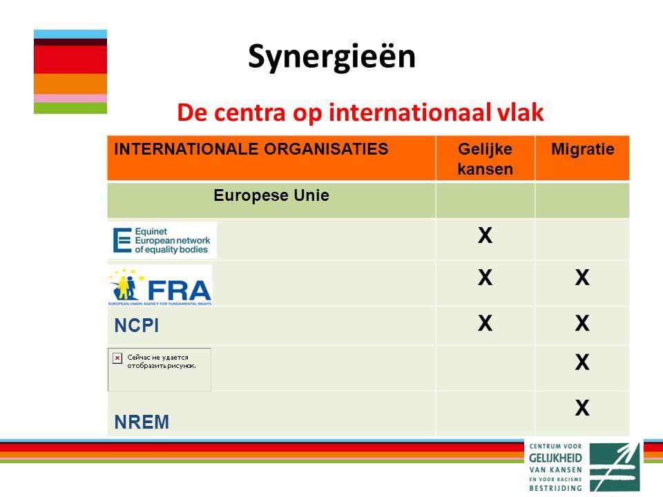 Synergieën INTERNATIONALE ORGANISATIESGelijke kansen Migratie Europese Unie X XX XX X X De centra op internationaal vlak NCPI NREM