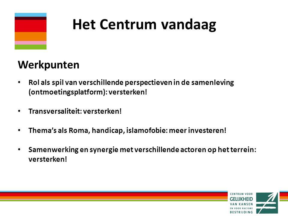 Het Centrum vandaag Werkpunten Rol als spil van verschillende perspectieven in de samenleving (ontmoetingsplatform): versterken.