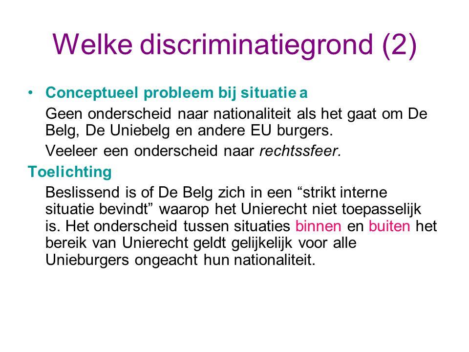 Welke discriminatiegrond (2) Conceptueel probleem bij situatie a Geen onderscheid naar nationaliteit als het gaat om De Belg, De Uniebelg en andere EU burgers.