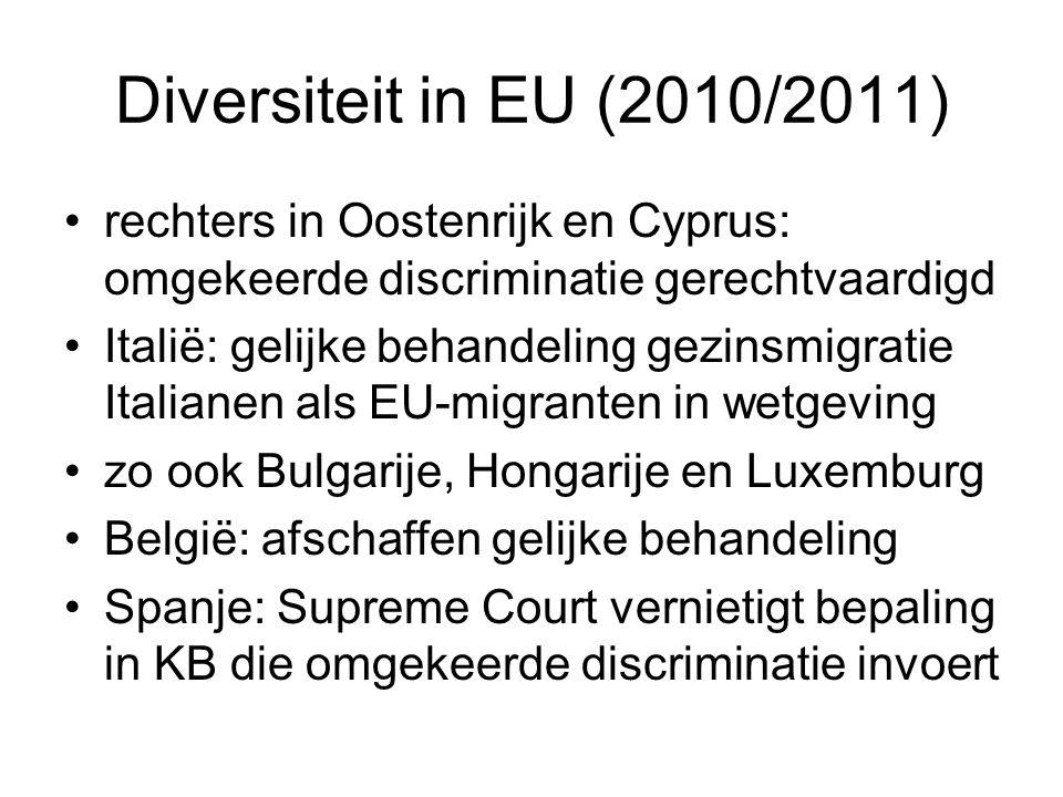 Diversiteit in EU (2010/2011) rechters in Oostenrijk en Cyprus: omgekeerde discriminatie gerechtvaardigd Italië: gelijke behandeling gezinsmigratie It