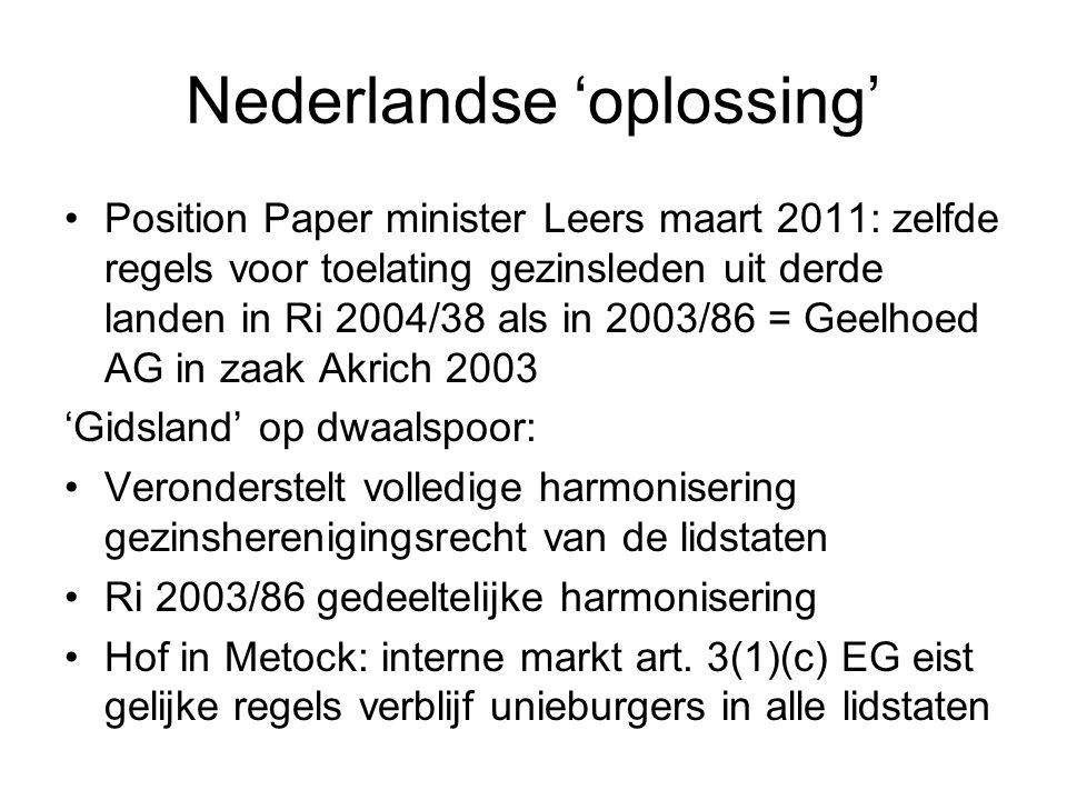 Nederlandse 'oplossing' Position Paper minister Leers maart 2011: zelfde regels voor toelating gezinsleden uit derde landen in Ri 2004/38 als in 2003/