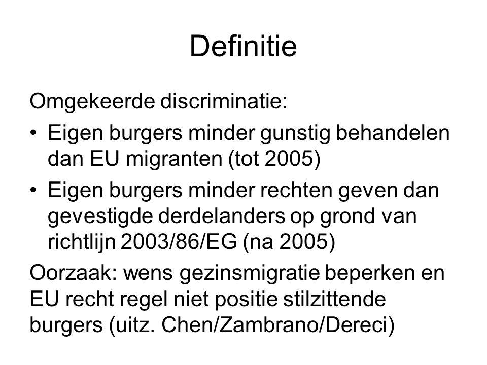 Relevantie Gezinsmigratie is groot deel totale migratie: België en Nederland 40-50% Meerderheid van 'sponsors' zijn EU burgers, niet derdelanders (zie Groenboek COM(2011)735) In Nederland 2003-2006: 80% visa voor gezinshereniging met Nederlandse staatsburgers als sponsors Nederlanders uit immigrantengroepen sterk oververtegenwoordigd onder sponsors Morson/Jhanjan/Singh/Eind/Chen: niet toevallig