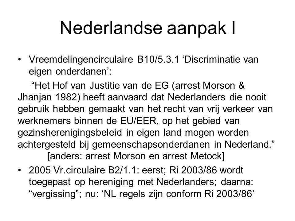 Nederlandse aanpak II RvState 2006: Wet inburgering niet op Nederlanders toepassen omdat EU migranten zijn vrijgesteld Na arrest Metock: inburgeringstest in buitenland niet voor gezinsleden EU migranten Geen aandacht voor Metock punt 76-79: is verschil behandeling te rechtvaardigen ex art.8 en art.14 EVRM.