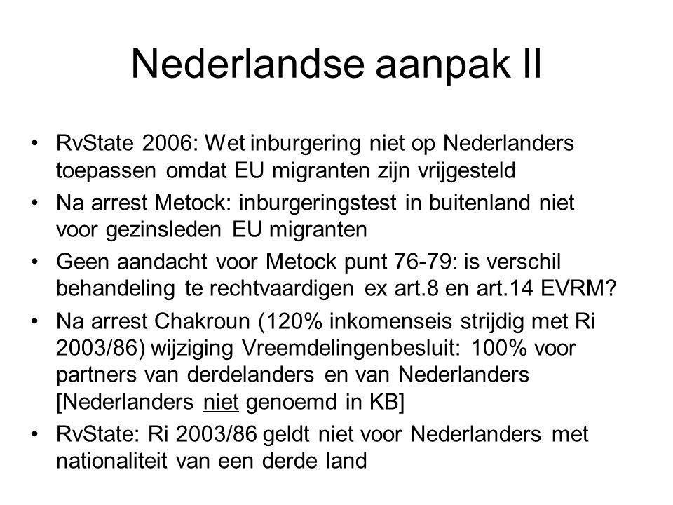 Nederlandse aanpak II RvState 2006: Wet inburgering niet op Nederlanders toepassen omdat EU migranten zijn vrijgesteld Na arrest Metock: inburgeringst