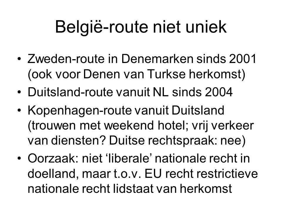 België-route niet uniek Zweden-route in Denemarken sinds 2001 (ook voor Denen van Turkse herkomst) Duitsland-route vanuit NL sinds 2004 Kopenhagen-rou