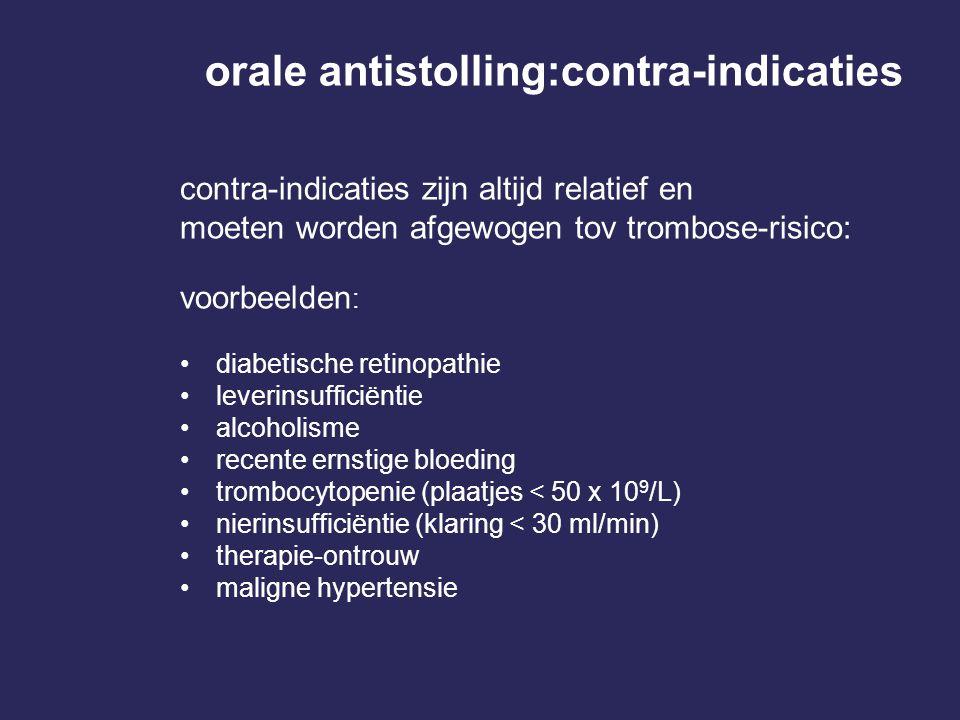 orale antistolling:contra-indicaties contra-indicaties zijn altijd relatief en moeten worden afgewogen tov trombose-risico: voorbeelden : diabetische