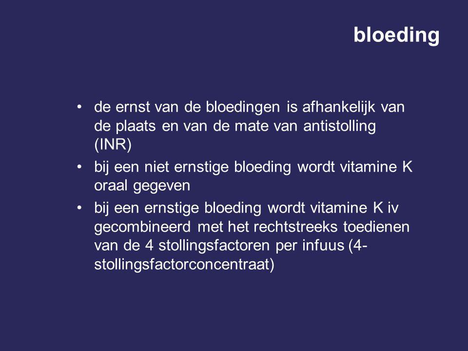 bloeding de ernst van de bloedingen is afhankelijk van de plaats en van de mate van antistolling (INR) bij een niet ernstige bloeding wordt vitamine K