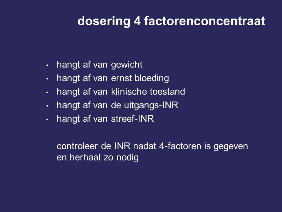 dosering 4 factorenconcentraat hangt af van gewicht hangt af van ernst bloeding hangt af van klinische toestand hangt af van de uitgangs-INR hangt af