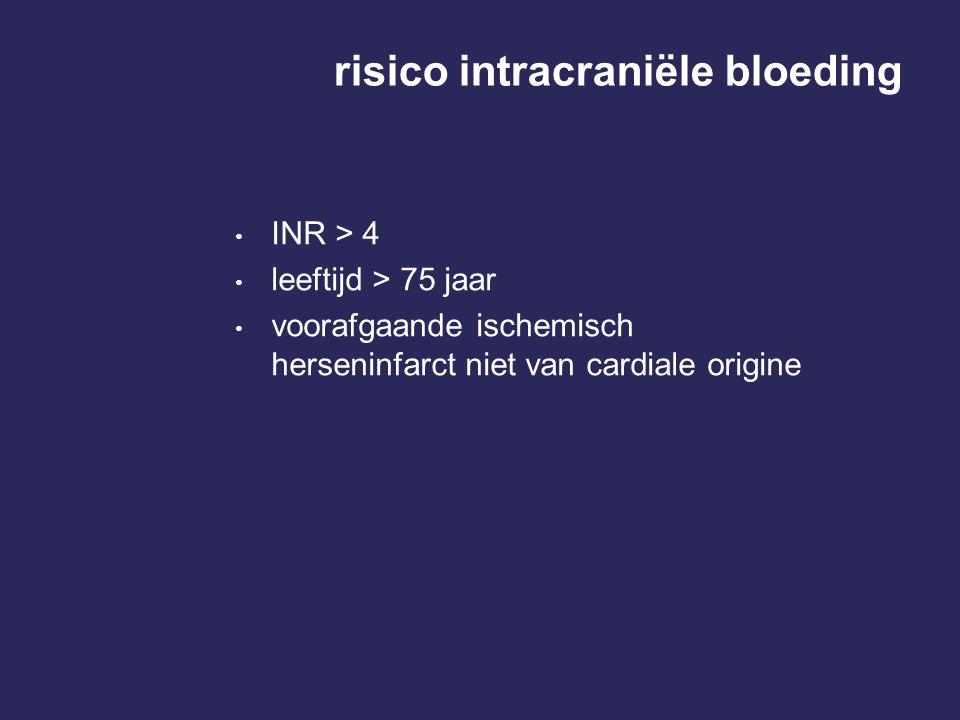 risico intracraniële bloeding INR > 4 leeftijd > 75 jaar voorafgaande ischemisch herseninfarct niet van cardiale origine