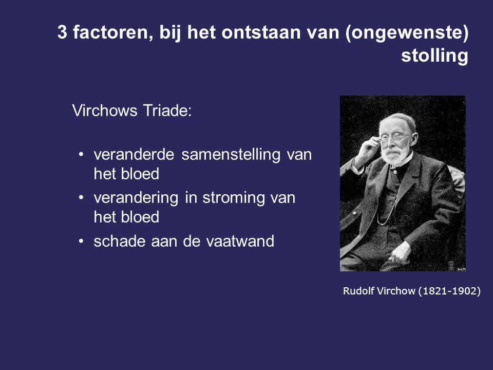 3 factoren, bij het ontstaan van (ongewenste) stolling Virchows Triade: veranderde samenstelling van het bloed verandering in stroming van het bloed s