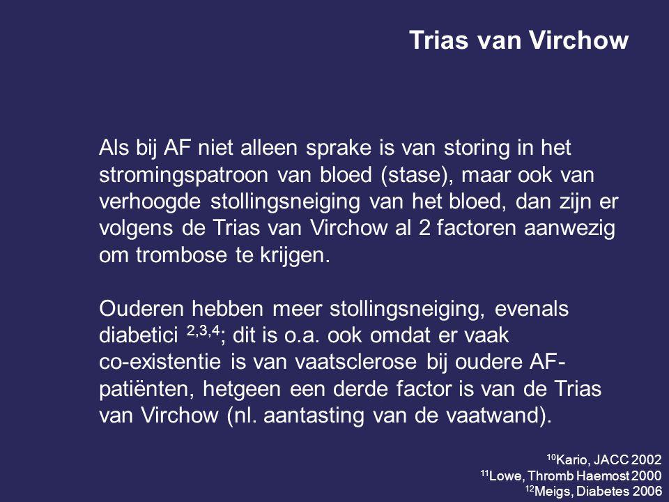 Trias van Virchow Als bij AF niet alleen sprake is van storing in het stromingspatroon van bloed (stase), maar ook van verhoogde stollingsneiging van het bloed, dan zijn er volgens de Trias van Virchow al 2 factoren aanwezig om trombose te krijgen.