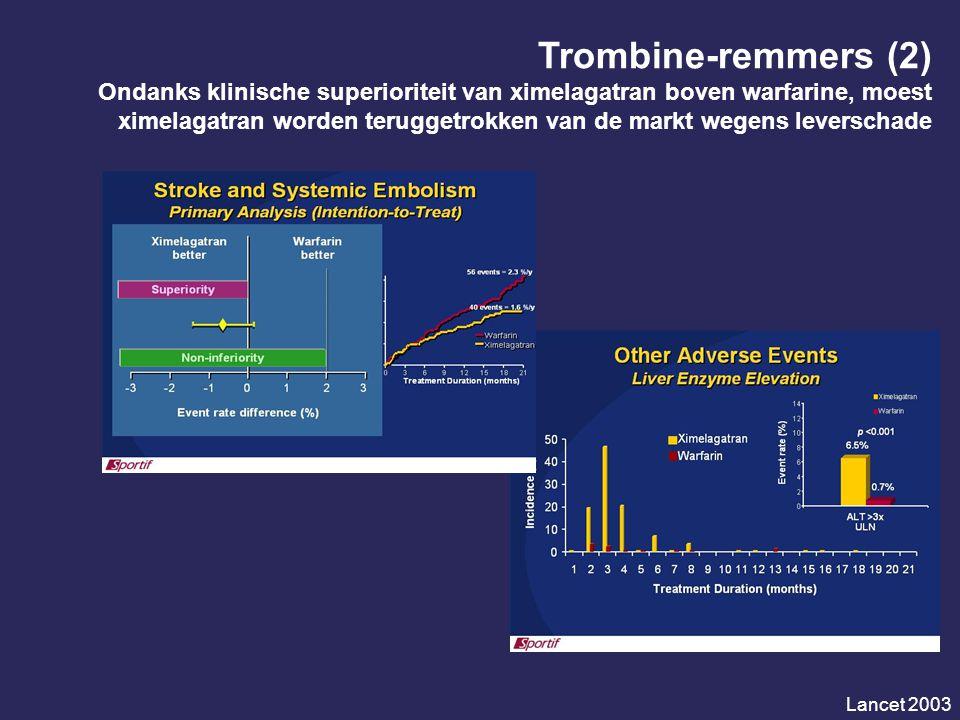 Trombine-remmers (2) Ondanks klinische superioriteit van ximelagatran boven warfarine, moest ximelagatran worden teruggetrokken van de markt wegens leverschade Lancet 2003