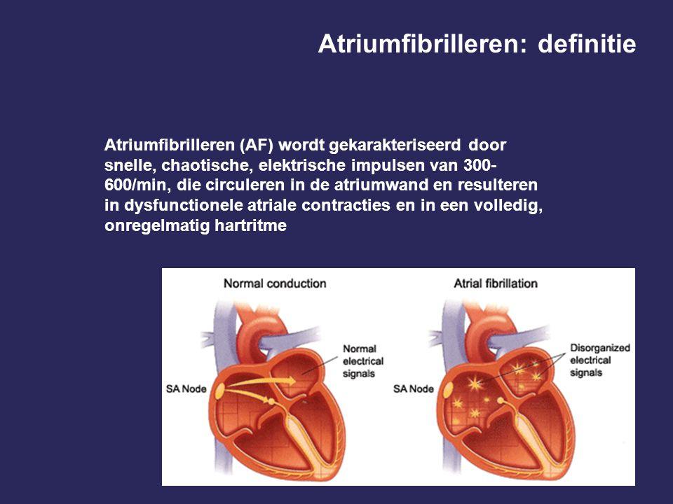 Atriumfibrilleren (AF) wordt gekarakteriseerd door snelle, chaotische, elektrische impulsen van 300- 600/min, die circuleren in de atriumwand en resulteren in dysfunctionele atriale contracties en in een volledig, onregelmatig hartritme Atriumfibrilleren: definitie