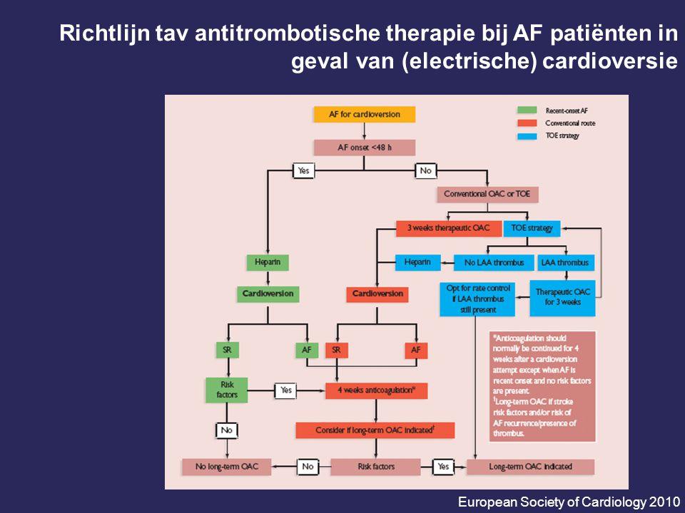 Richtlijn tav antitrombotische therapie bij AF patiënten in geval van (electrische) cardioversie European Society of Cardiology 2010