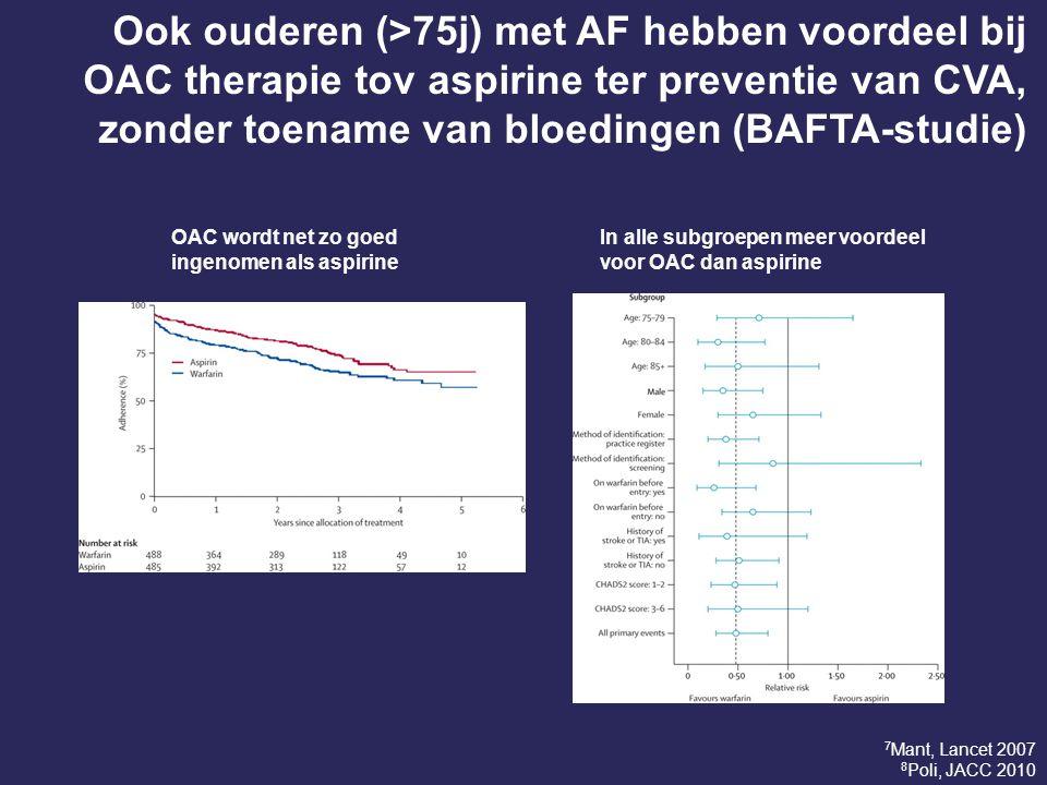 Ook ouderen (>75j) met AF hebben voordeel bij OAC therapie tov aspirine ter preventie van CVA, zonder toename van bloedingen (BAFTA-studie) OAC wordt