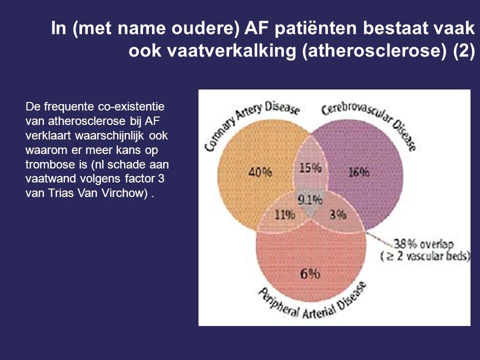 De frequente co-existentie van atherosclerose bij AF verklaart waarschijnlijk ook waarom er meer kans op trombose is (nl schade aan vaatwand volgens f