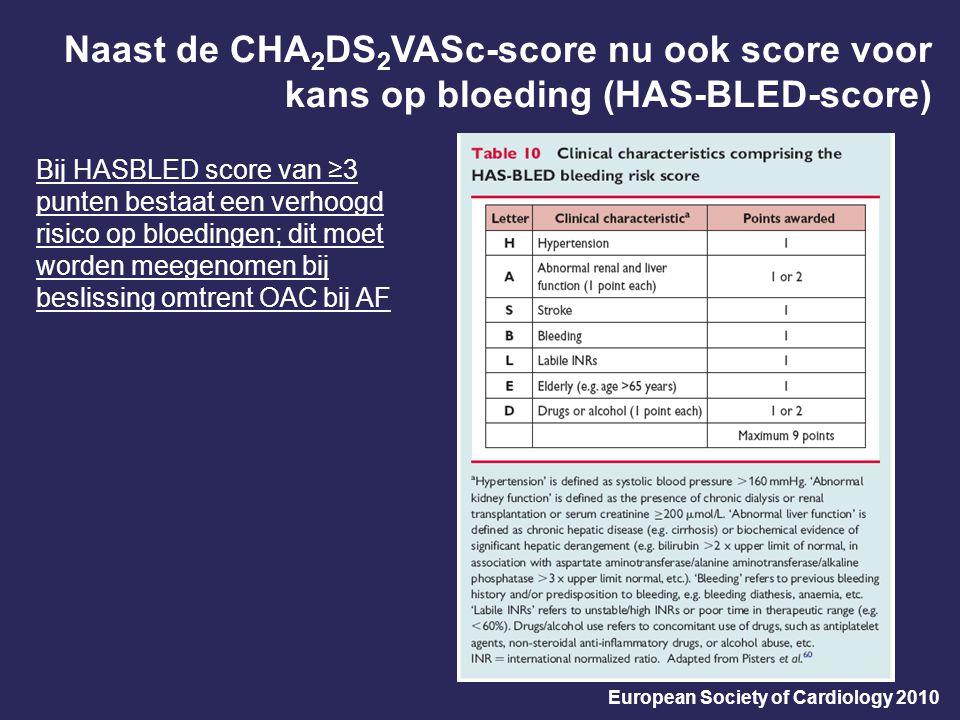 Naast de CHA 2 DS 2 VASc-score nu ook score voor kans op bloeding (HAS-BLED-score) European Society of Cardiology 2010 Bij HASBLED score van ≥3 punten