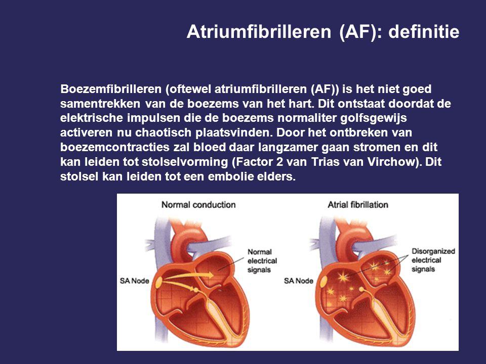 Het optreden van AF neemt sterk toe met de leeftijd Boven 75 jaar is er een incidentie van > 15% 1 Wolf, Stroke 1991
