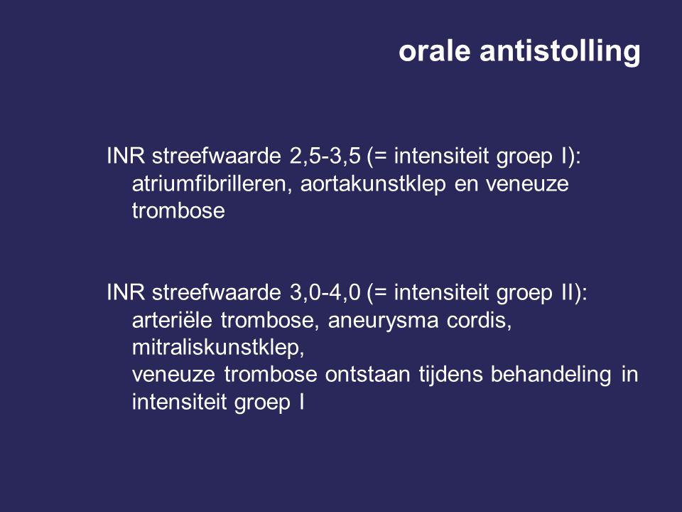 orale antistolling INR streefwaarde 2,5-3,5 (= intensiteit groep I): atriumfibrilleren, aortakunstklep en veneuze trombose INR streefwaarde 3,0-4,0 (= intensiteit groep II): arteriële trombose, aneurysma cordis, mitraliskunstklep, veneuze trombose ontstaan tijdens behandeling in intensiteit groep I