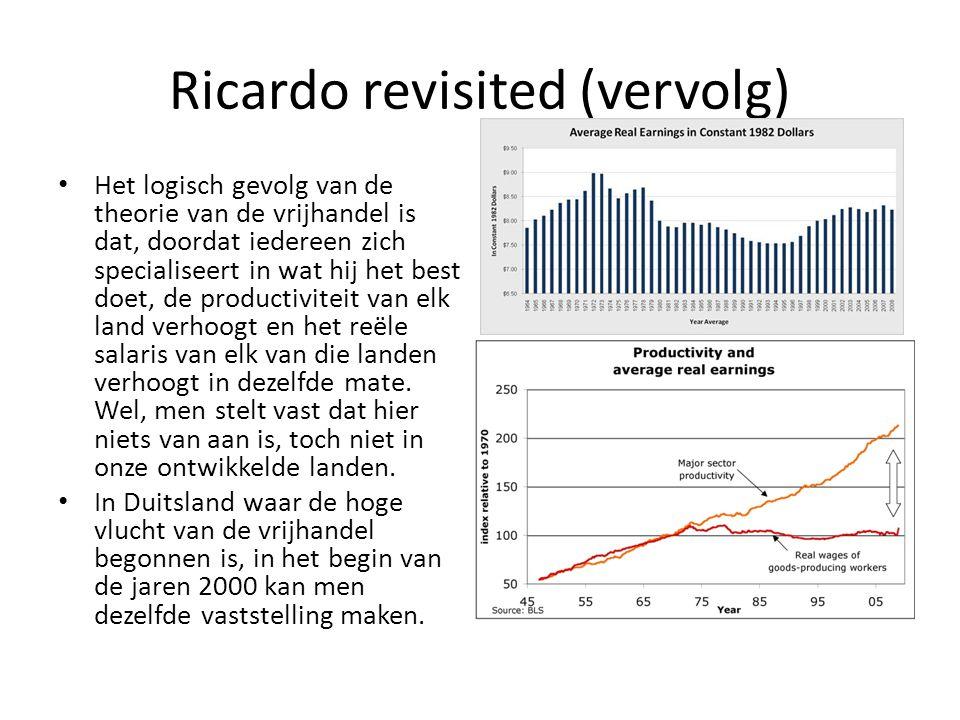 Ricardo revisited (vervolg) Het logisch gevolg van de theorie van de vrijhandel is dat, doordat iedereen zich specialiseert in wat hij het best doet,