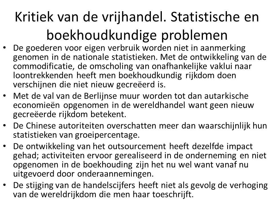 Kritiek van de vrijhandel. Statistische en boekhoudkundige problemen De goederen voor eigen verbruik worden niet in aanmerking genomen in de nationale